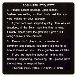 >>>POSHMARK ETIQUETTE<<<
